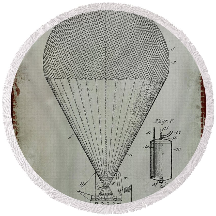 Patent Round Beach Towel featuring the mixed media Airship Patent Drawing 1d by Brian Reaves