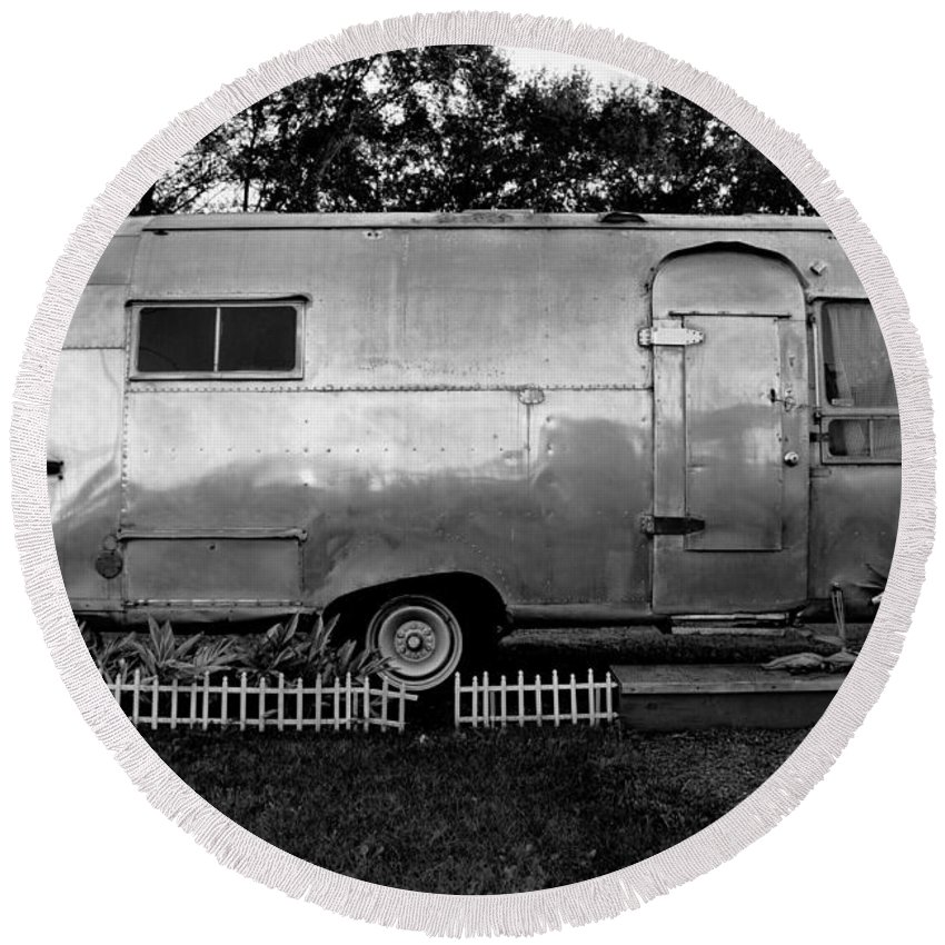 Fine Art Photography Round Beach Towel featuring the photograph Airstream Life by David Lee Thompson