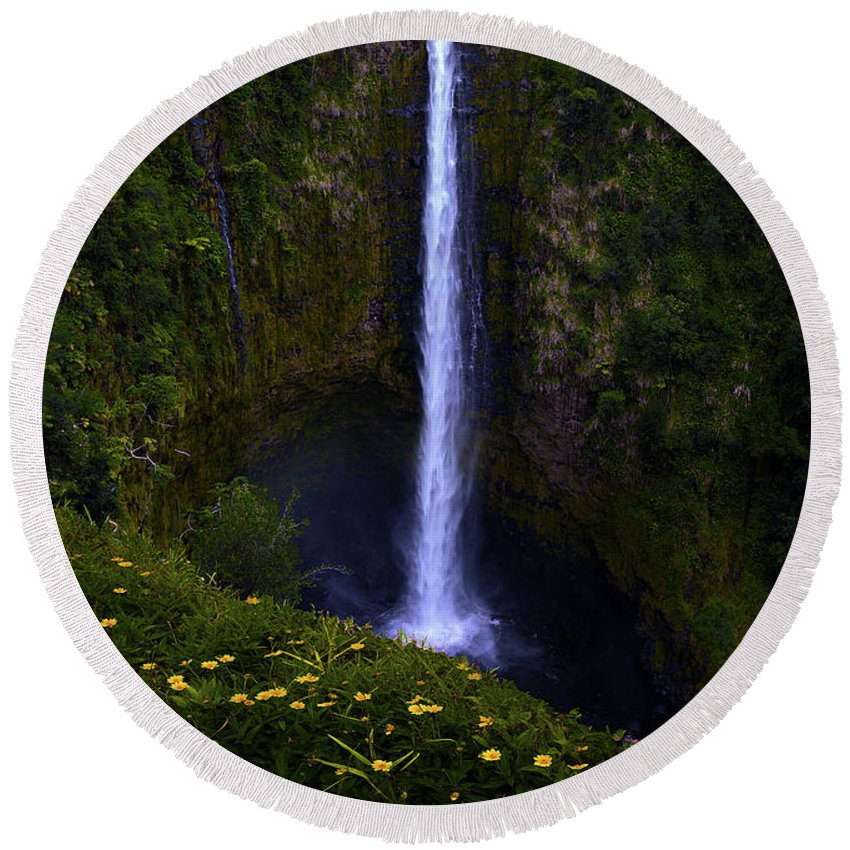 Big Island Akaka Falls Waterfall Round Beach Towel featuring the photograph Akaka Falls by James Roemmling