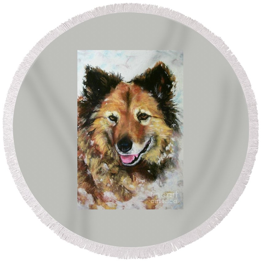 Dog Round Beach Towel featuring the painting Akia by Frances Marino