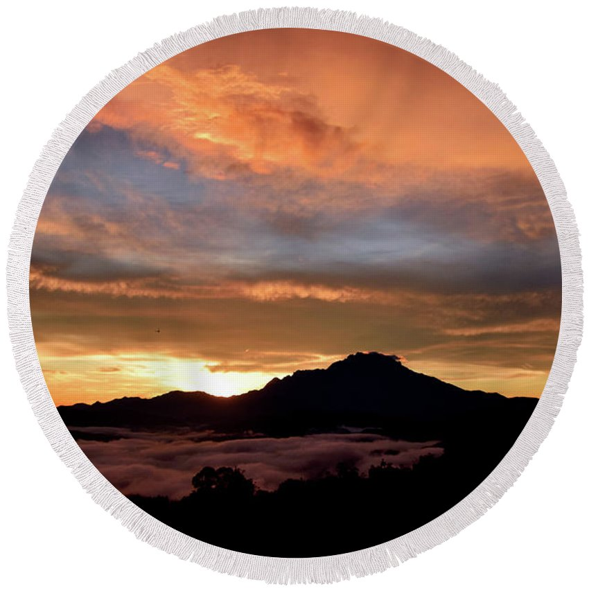 Mount Round Beach Towel featuring the photograph Akinabalu 2 by Peter Gabriel