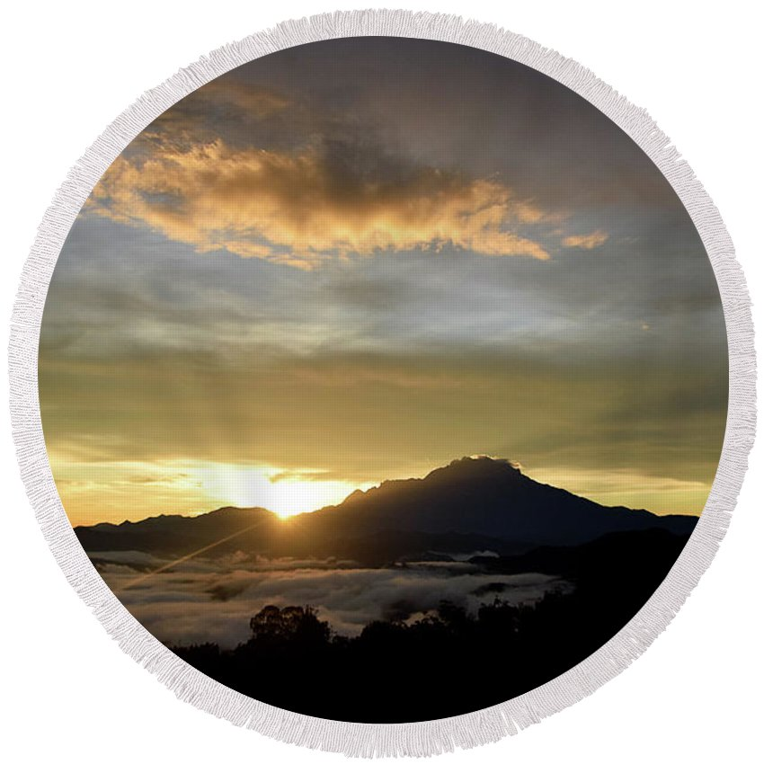 Mount Round Beach Towel featuring the photograph Akinabalu 3 by Peter Gabriel