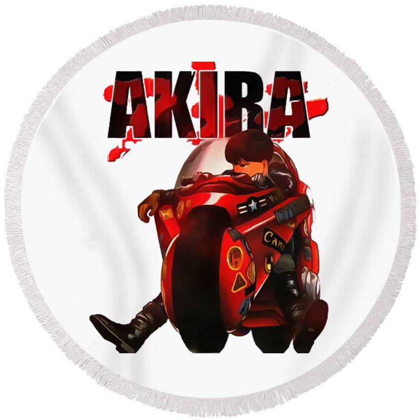 Akira Round Beach Towel featuring the digital art Akira by Candra Dian