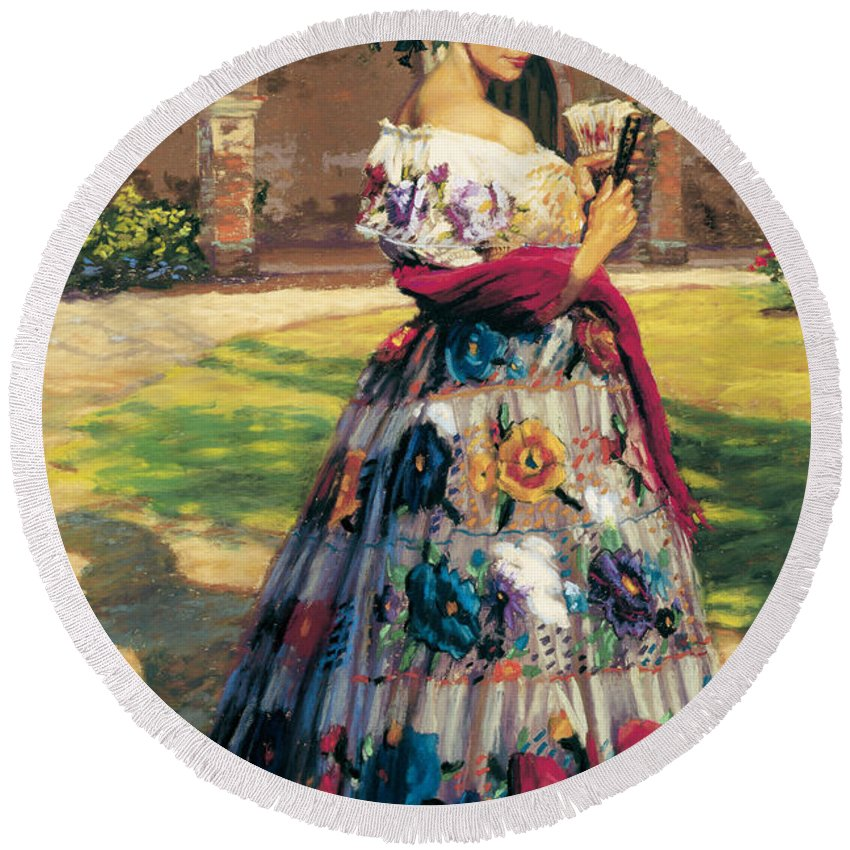 Woman Elaborately Embroidered Mexican Dress. Background Mission San Juan Capistrano. Round Beach Towel featuring the painting Al Aire Libre by Jean Hildebrant