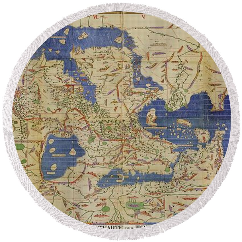 1100s Round Beach Towel featuring the photograph Al Idrisi World Map 1154 by SPL and Photo Researchers