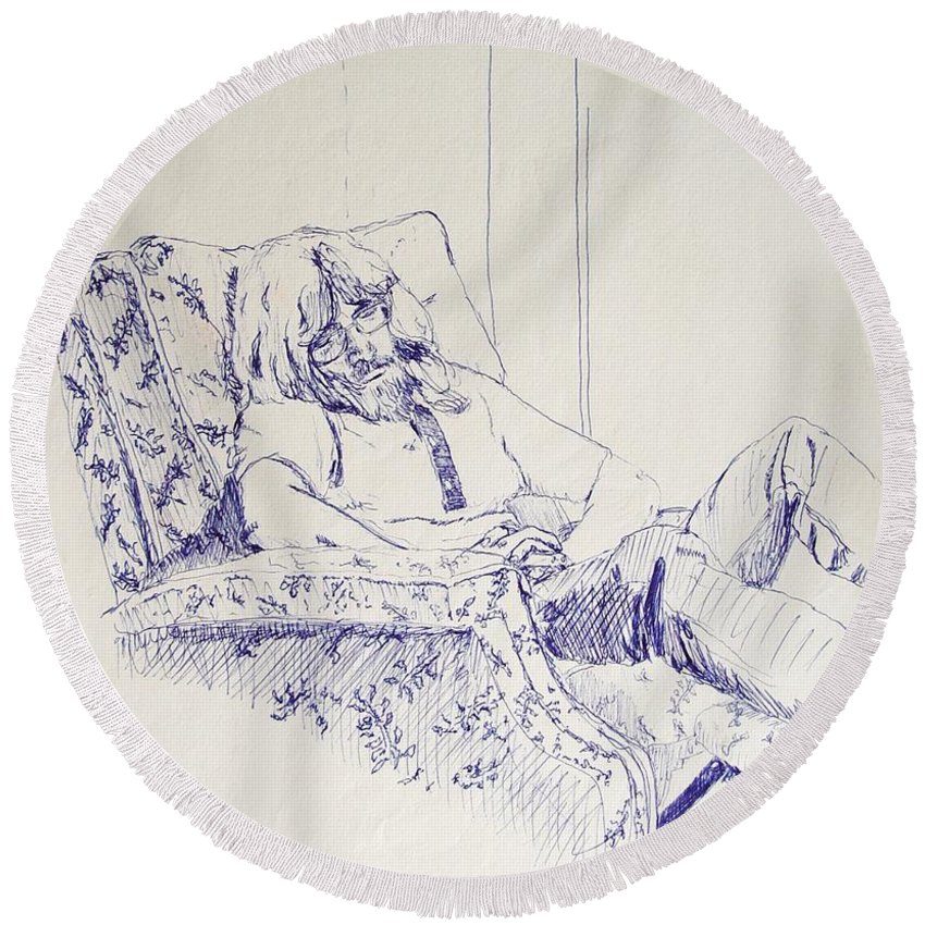Portrait Round Beach Towel featuring the drawing Al-studying by Ron Bissett