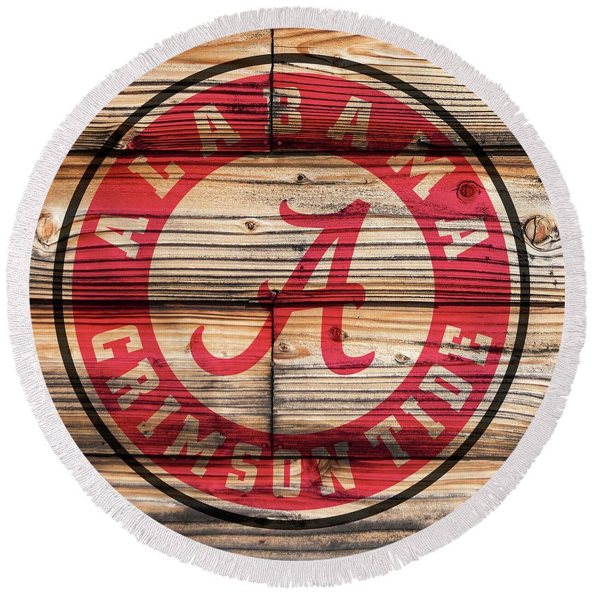 Alabama Crimson Tide Logo On Rustic Wood Round Beach Towel For Sale