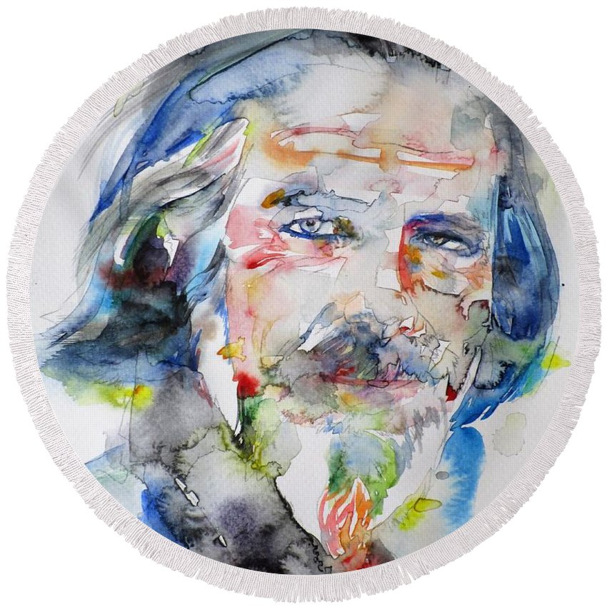 Alan Watts Round Beach Towel featuring the painting Alan Watts - Watercolor Portrait.6 by Fabrizio Cassetta