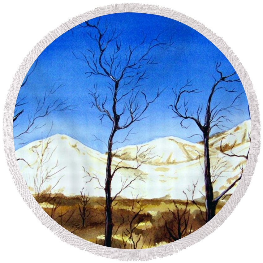 Landscape Round Beach Towel featuring the painting Alaska Blue Sky Day by Brenda Owen