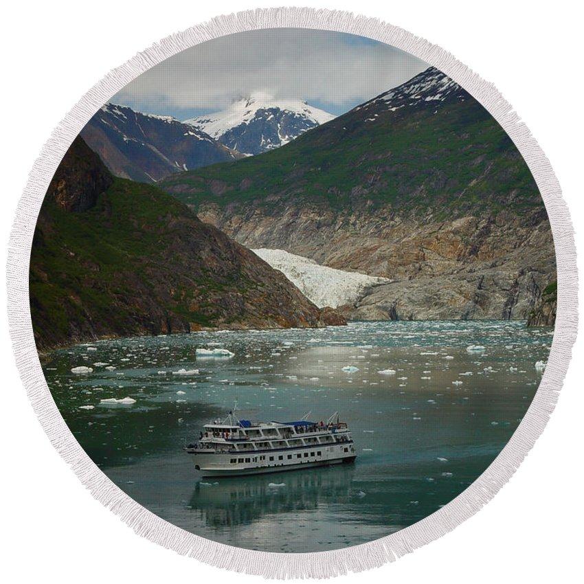 Alaska Round Beach Towel featuring the photograph Alaska Endicott Glacier by Heather Coen