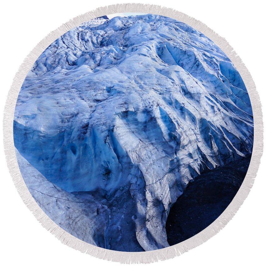 Adventure Round Beach Towel featuring the photograph Alaska Exit Glacier by Jennifer White