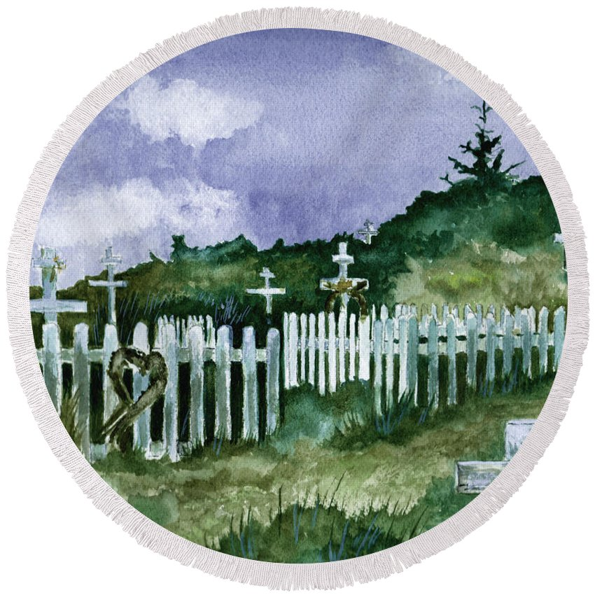 Landscape Round Beach Towel featuring the painting Alaska Graveyard by Brenda Owen