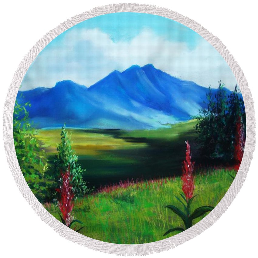 Alaska Round Beach Towel featuring the pastel Alaska by Melinda Etzold