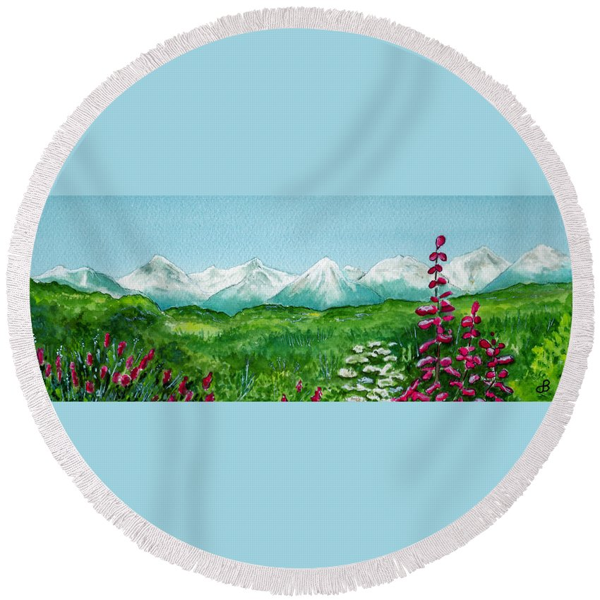 Landscape Round Beach Towel featuring the painting Alaska Splendor by Brenda Owen