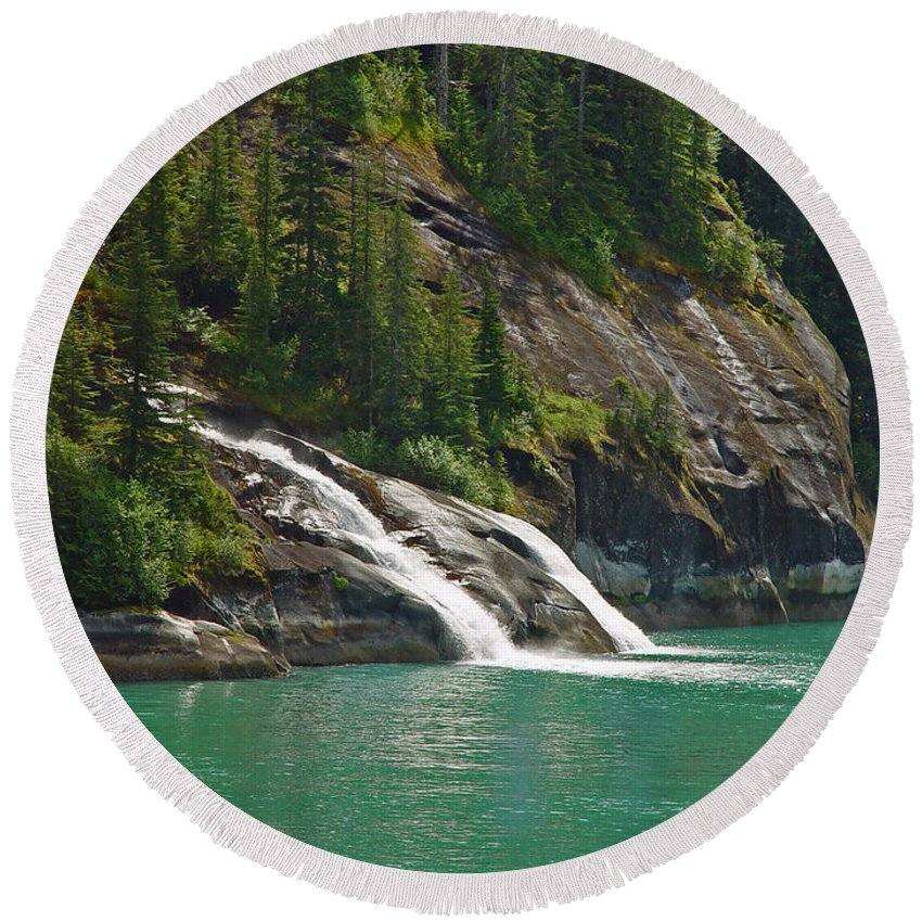 Waterfall Round Beach Towel featuring the photograph Alaska Tracy Arm by Heather Coen