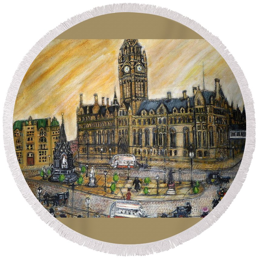 Nostalgia Round Beach Towel featuring the painting Albert Square Manchester 1900 by Peter Gartner
