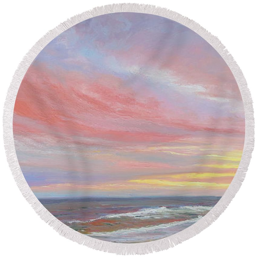 Seascape Round Beach Towel featuring the painting Alberta's Sunset by Lea Novak