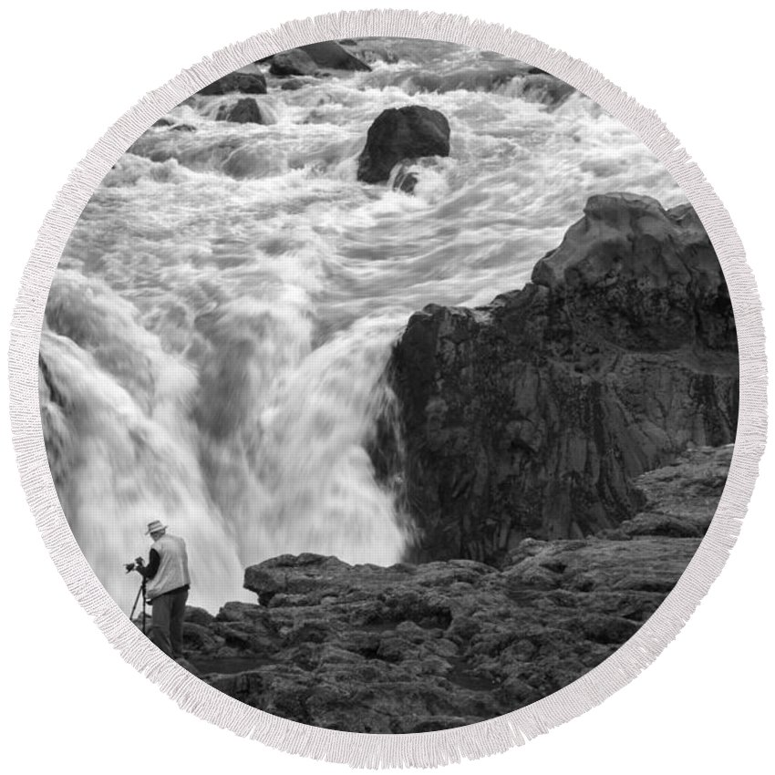 Aldeyjarfoss Round Beach Towel featuring the photograph Aldeyjarfoss Waterfall Iceland 3381 by Bob Neiman