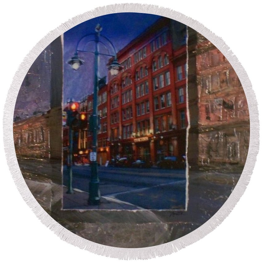 Ale House Round Beach Towel featuring the mixed media Ale House And Street Lamp by Anita Burgermeister