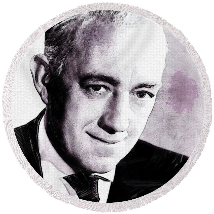 Alec Round Beach Towel featuring the digital art Alec Guinness by John Springfield