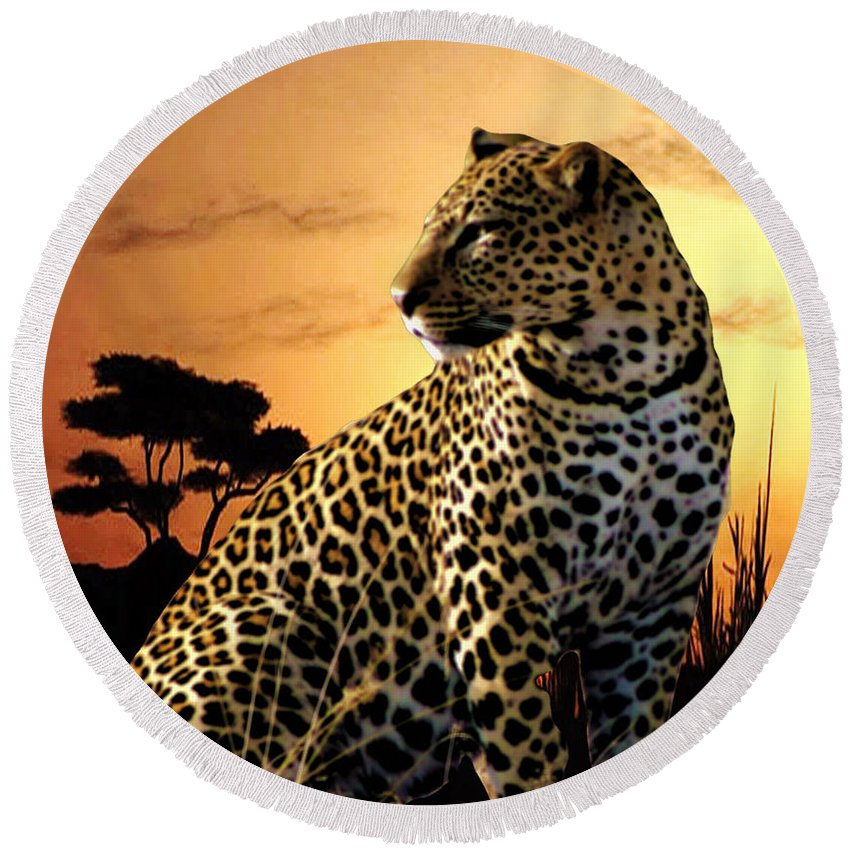 Leopard Round Beach Towel featuring the photograph Alert To Danger by Mike Henniger Marilyn Alexander