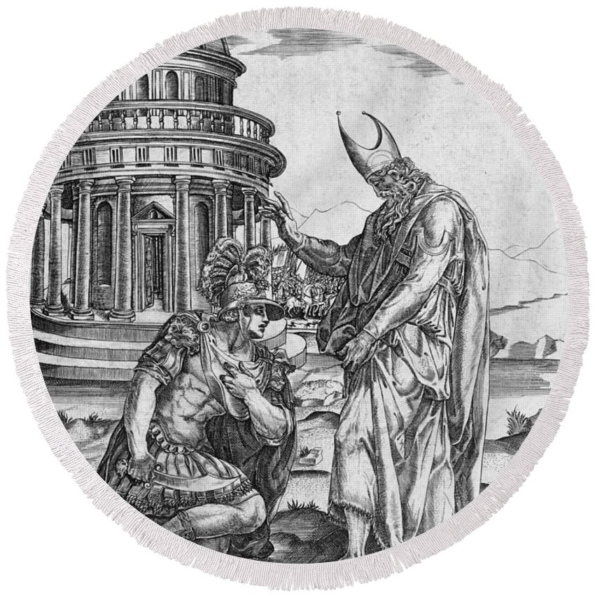 Francesco Salviati Round Beach Towel featuring the drawing Alexander The Great Kneeling Before The High Priest Of Ammon by Francesco Salviati