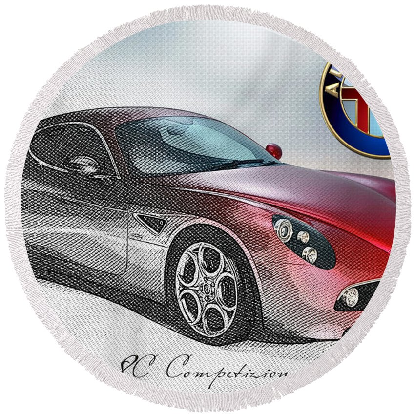 Wheels Of Fortune By Serge Averbukh Round Beach Towel featuring the photograph Alfa Romeo 8C Competizione by Serge Averbukh