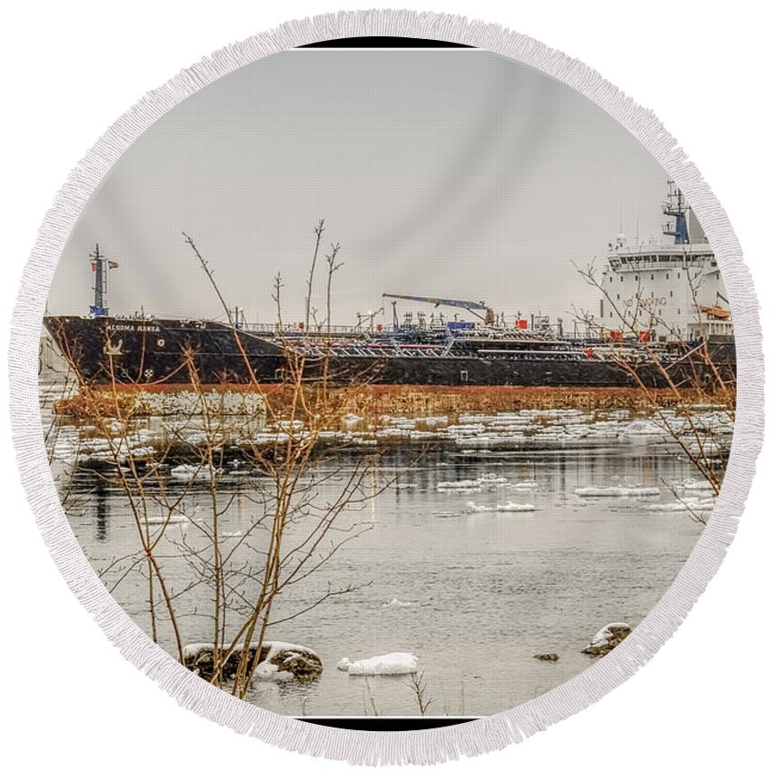 Algoma Hansa Round Beach Towel featuring the photograph Algoma Hansa Blue Water River Walk by LeeAnn McLaneGoetz McLaneGoetzStudioLLCcom