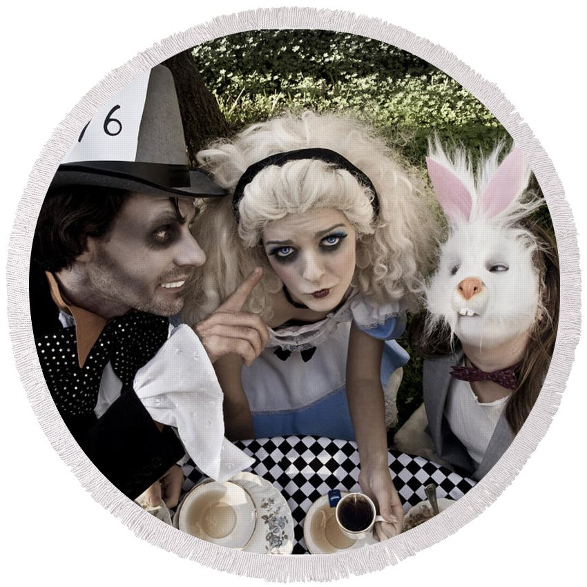 Alice In Wonderland Round Beach Towel featuring the photograph Alice And Friends 2 by Kelly Jade King