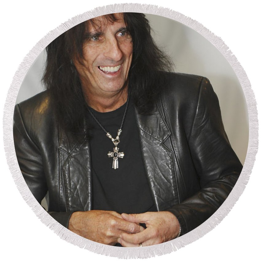 Alice Cooper Round Beach Towel featuring the photograph Alice Cooper Happy by Jill Reger