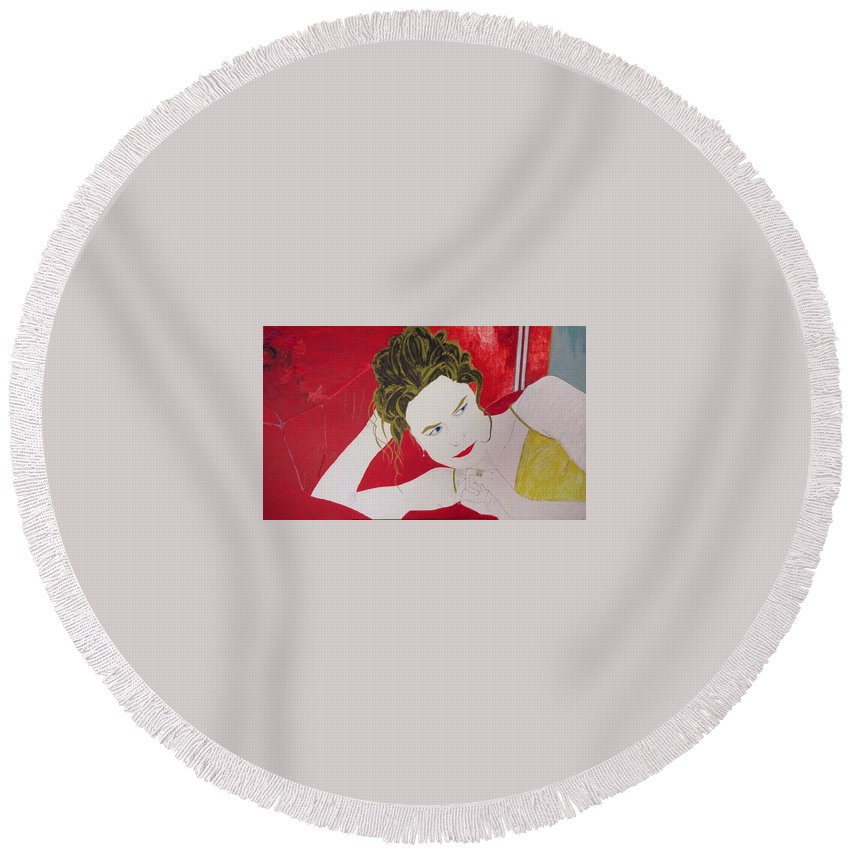Smoking Round Beach Towel featuring the painting Alice by George Hertz