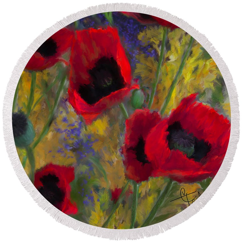 Flowers Round Beach Towel featuring the painting Alicias Poppies by Colleen Taylor