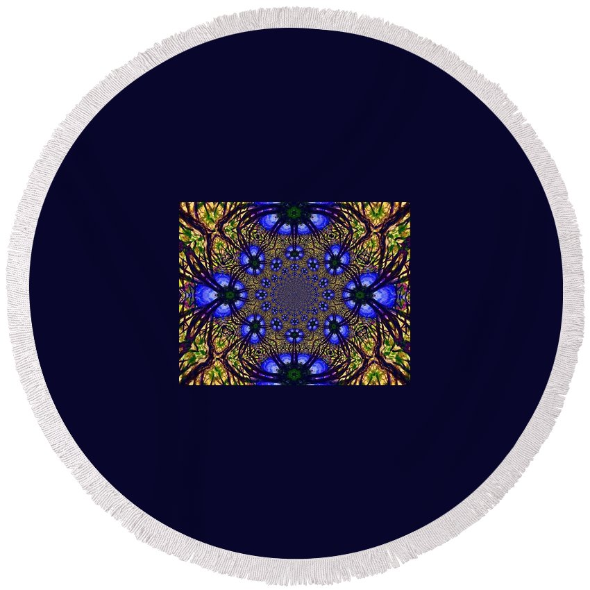 Blue And Yellow Round Beach Towel featuring the digital art Blue Abstract by Anne Sands