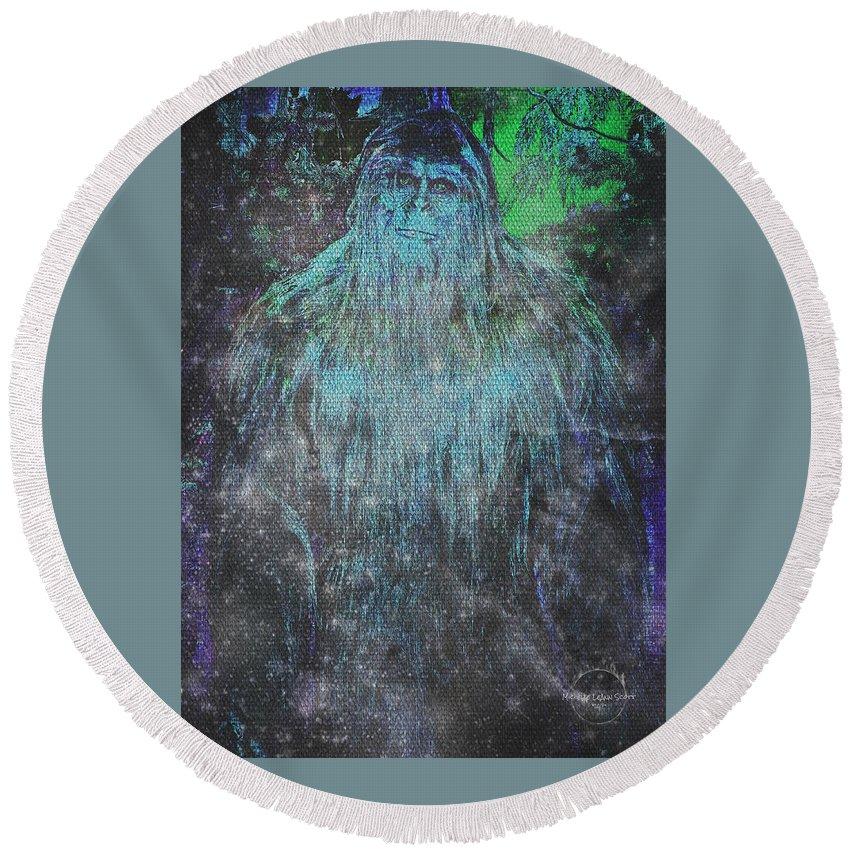 Bigfoot Round Beach Towel featuring the digital art Alien Bigfoot by Absinthe Art By Michelle LeAnn Scott