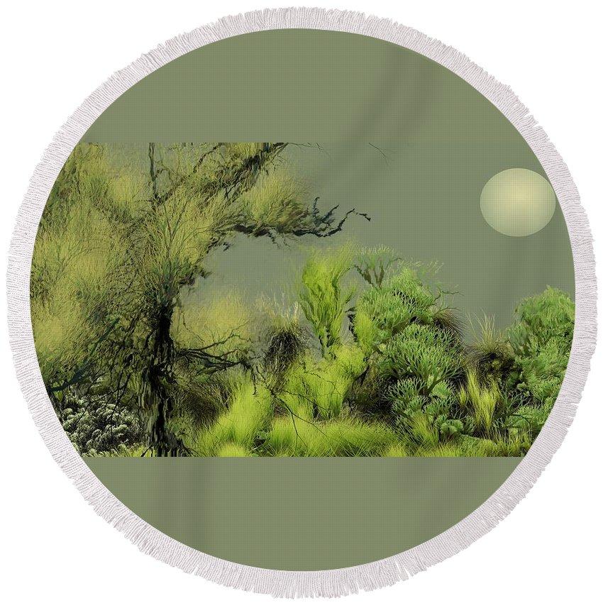 Digital Fantasy Painting Round Beach Towel featuring the digital art Alien Garden 2 by David Lane