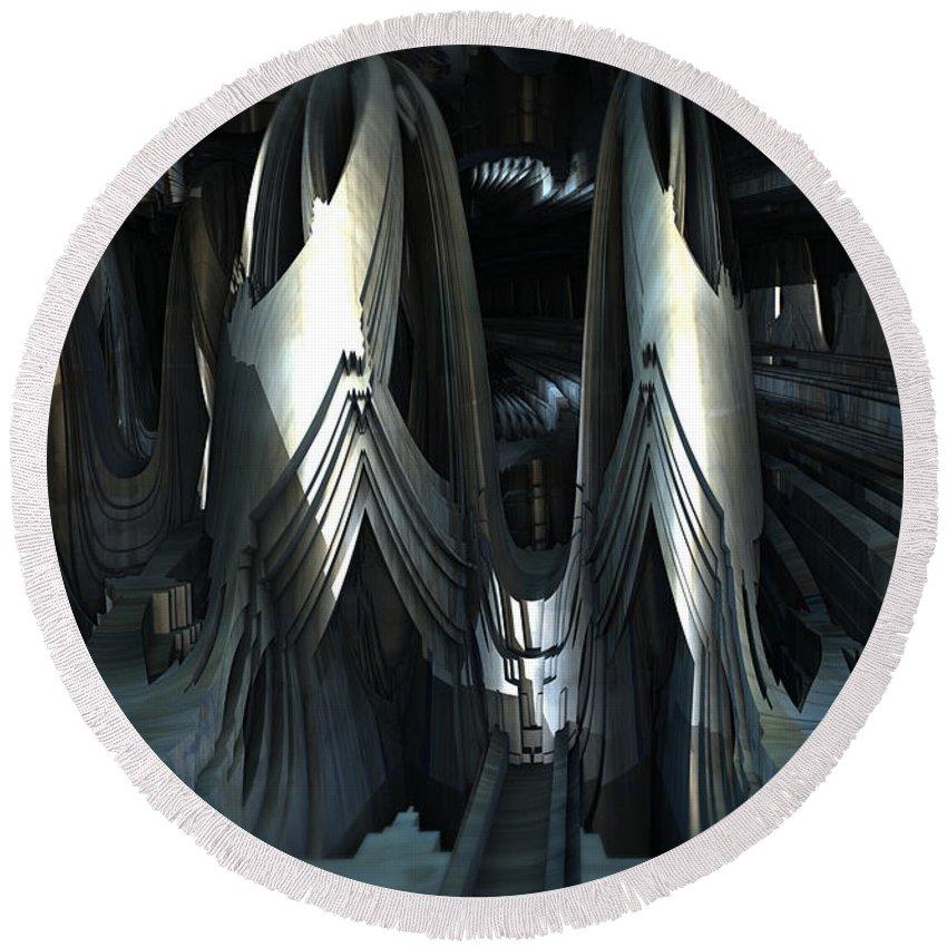 Sciencefiction Scifi Grunge Dystopian Fractal Architecture Building Fractalart Steampunk Mandelbulb3d Mandelbulb Round Beach Towel featuring the digital art Alien Sanctuary by Hal Tenny