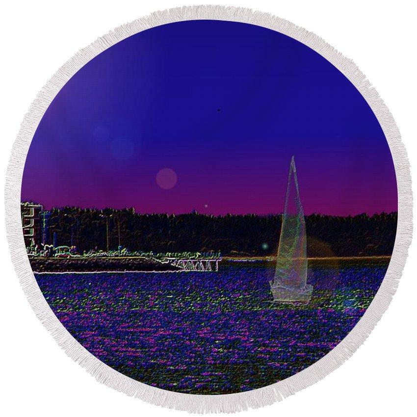 Seattle Round Beach Towel featuring the digital art Alki Ghost Sail by Tim Allen