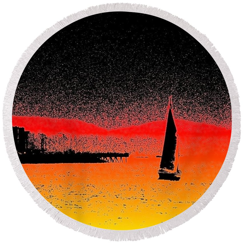 Seattle Round Beach Towel featuring the photograph Alki Sail by Tim Allen