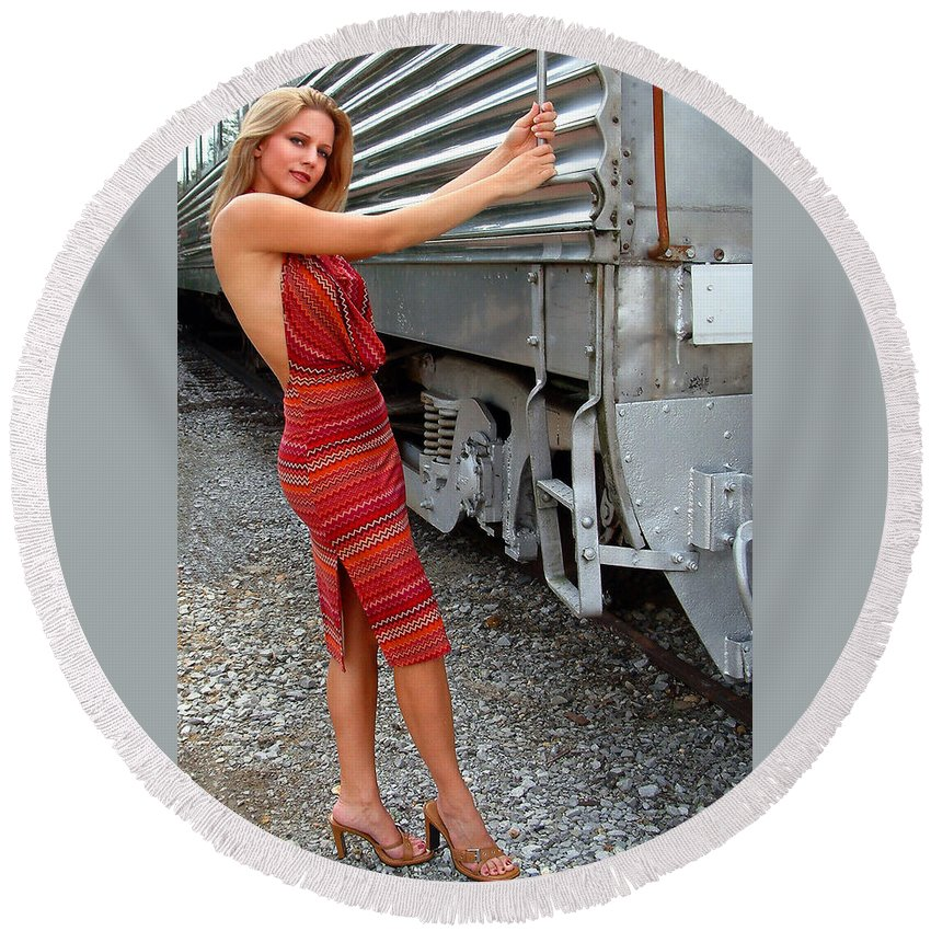 Glamour Round Beach Towel featuring the photograph All Aboard by John Dauer
