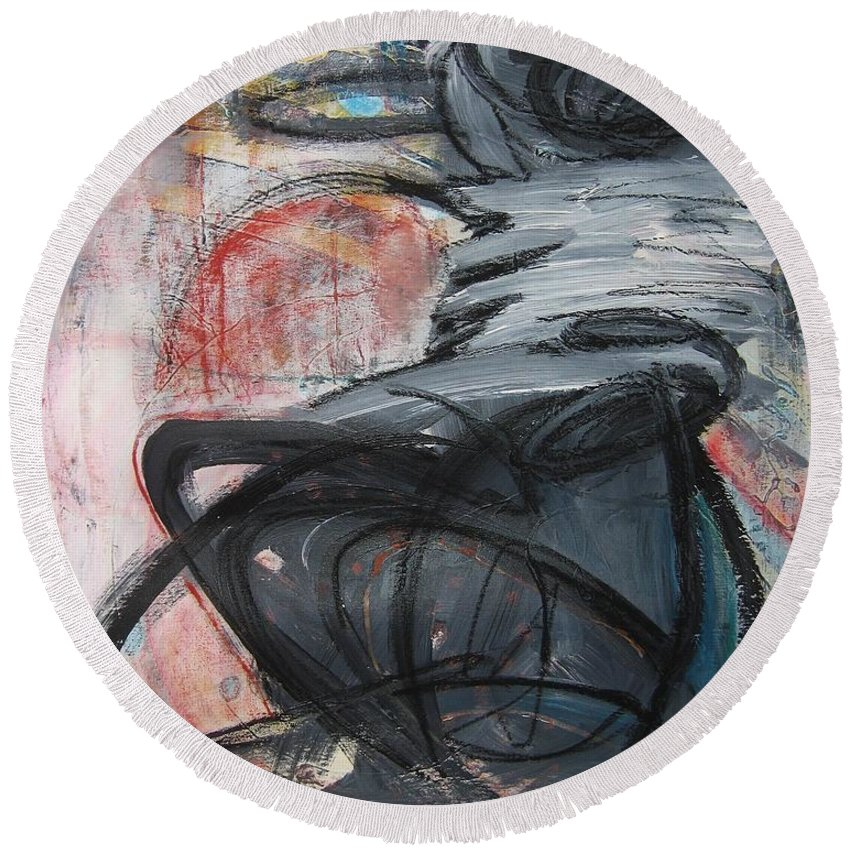 Abstract Paintings Paintings Round Beach Towel featuring the painting All Alone by Seon-Jeong Kim