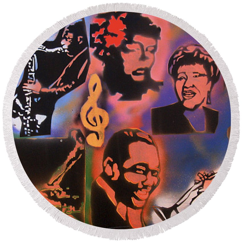 Jazz Round Beach Towel featuring the painting All Dat Jazz by Tony B Conscious