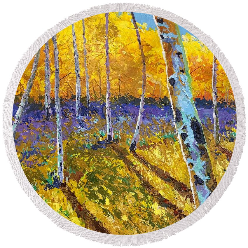 Aspen Round Beach Towel featuring the painting All In The Golden Afternoon by Hunter Jay