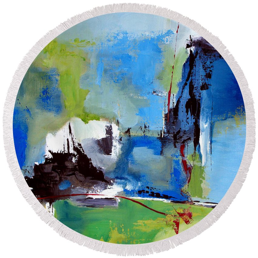 Abstract Round Beach Towel featuring the painting All Is Not Lost by Ruth Palmer