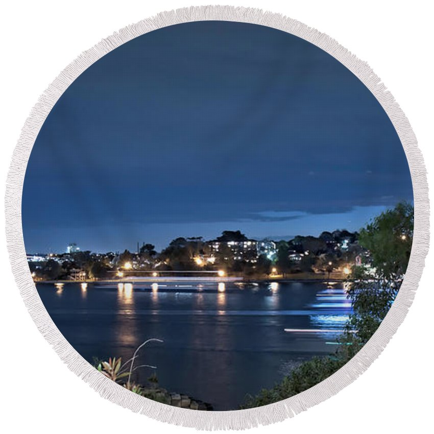 Sydney Round Beach Towel featuring the photograph All Lit Up by Elaine Teague
