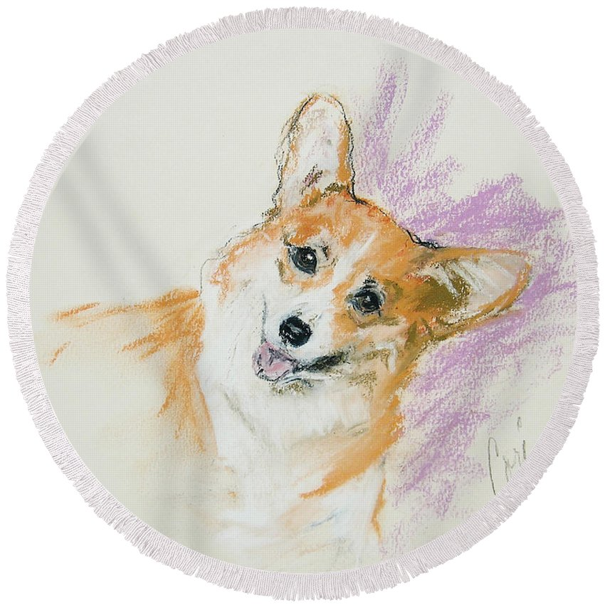 Corgi Round Beach Towel featuring the drawing All Smiles by Cori Solomon