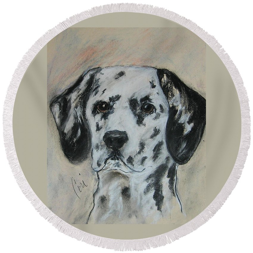 Dalmatian Round Beach Towel featuring the drawing All Spots by Cori Solomon