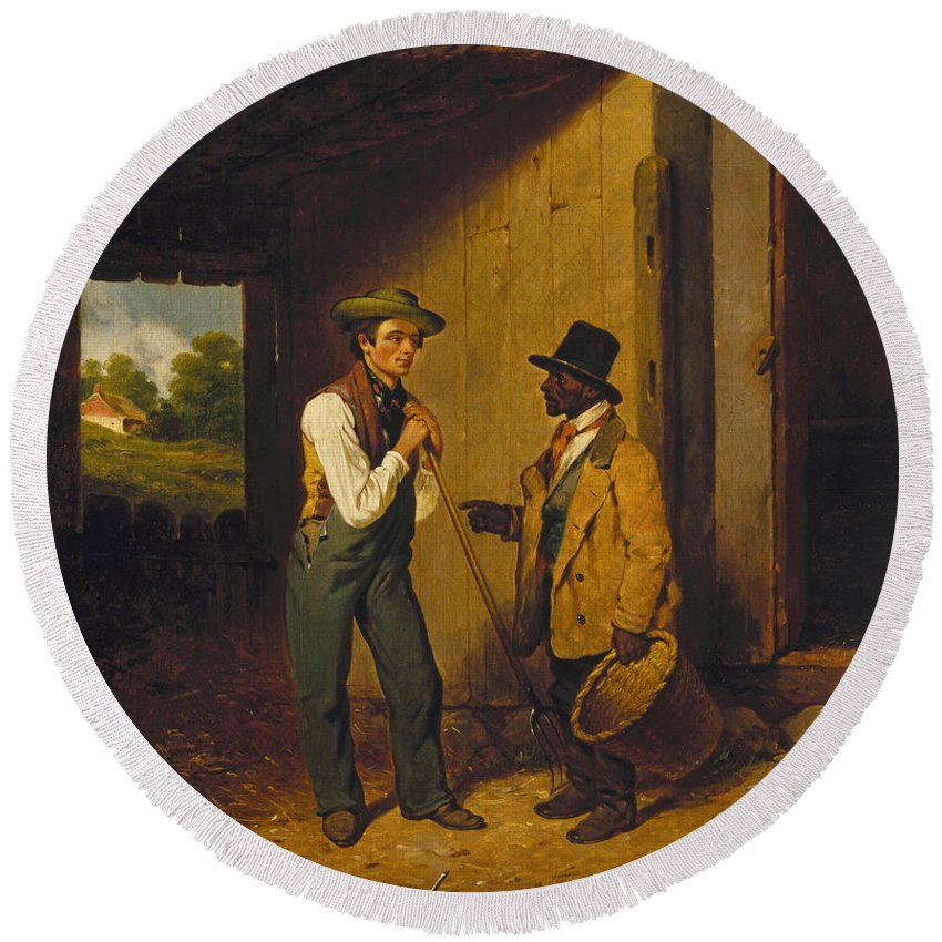 Francis William Edmonds Round Beach Towel featuring the painting All Talk And No Work by Francis William Edmonds