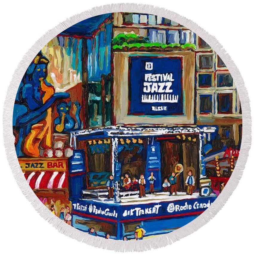 Montreal Round Beach Towel featuring the painting All That Jazz by Carole Spandau