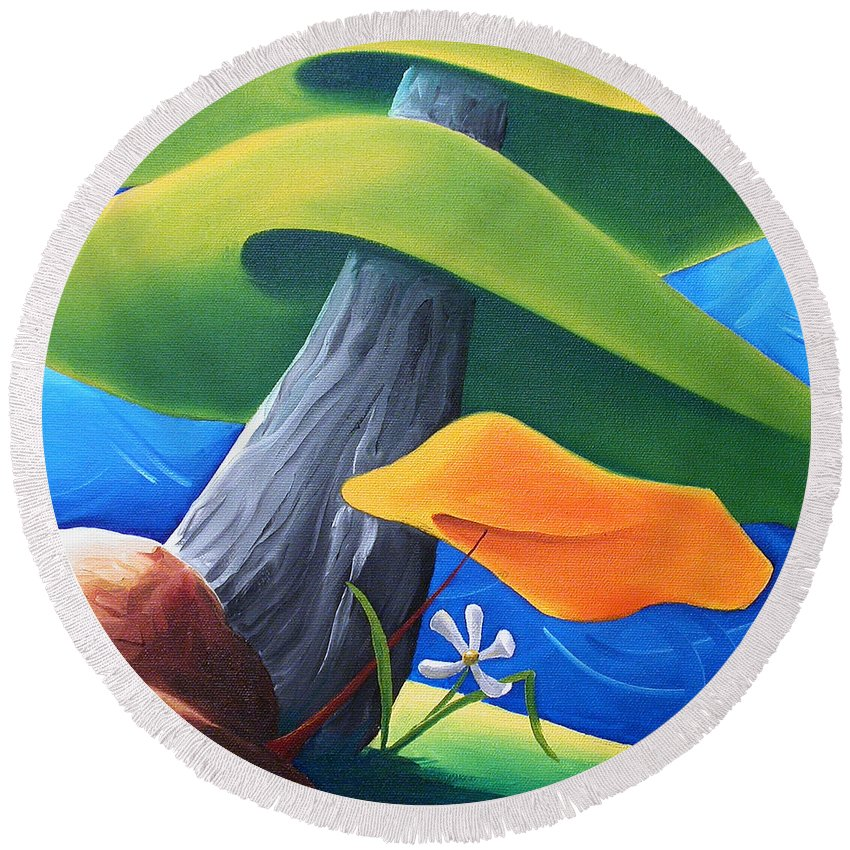 Landscape Round Beach Towel featuring the painting All Under One Roof by Richard Hoedl
