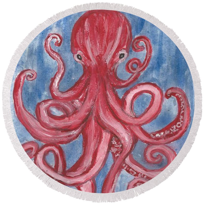 Octopus Round Beach Towel featuring the painting All Wrapped Up by Katie Barnes